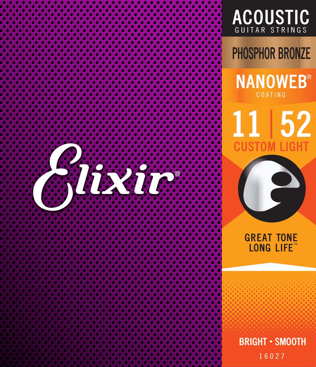 Elixir Nanoweb Phosphor Bronze Custom Light 11-52