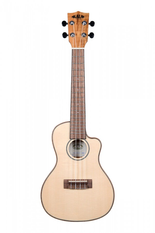 Kala Travel Concert Solid Spruce Spalted Maple Cutaway