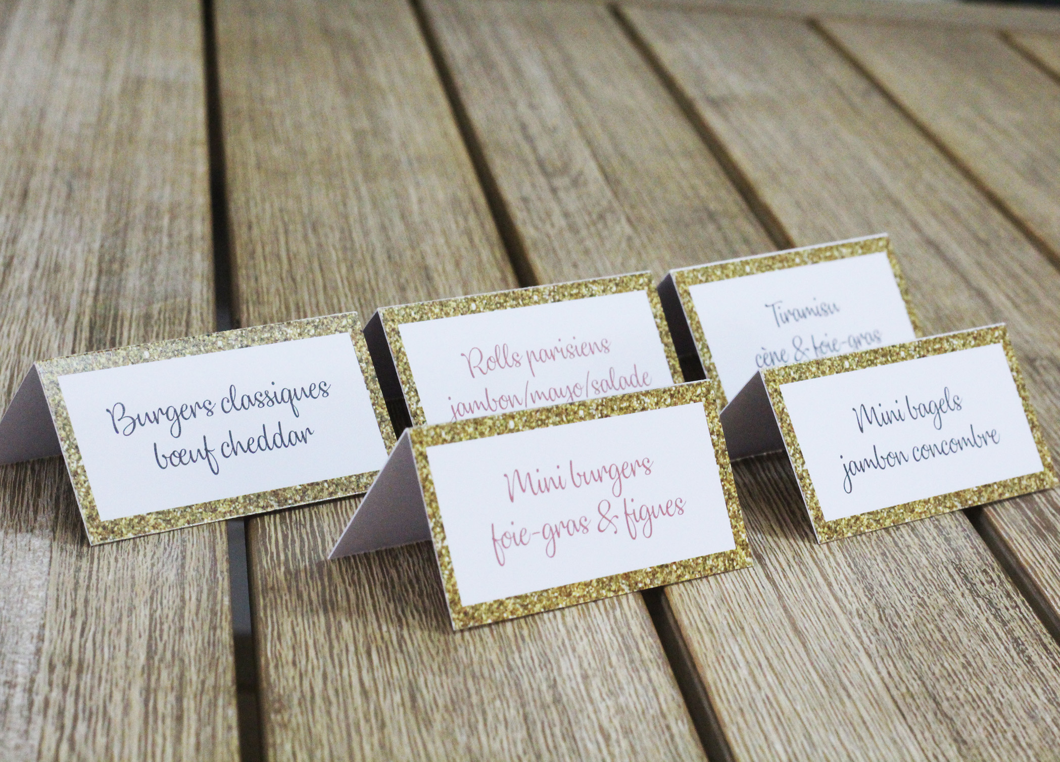 Etiquette marque-plat confetti