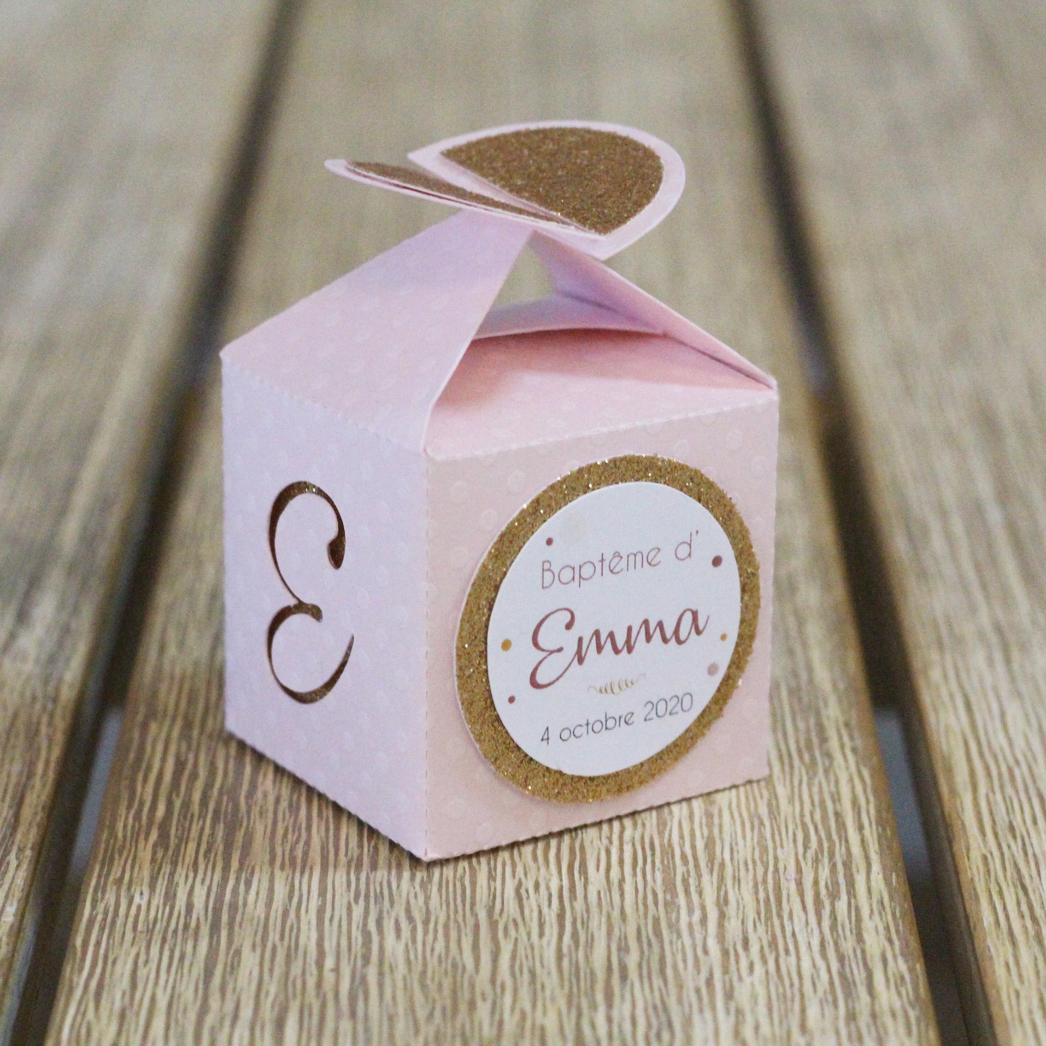 Boîtes à dragées demi cercle confetti