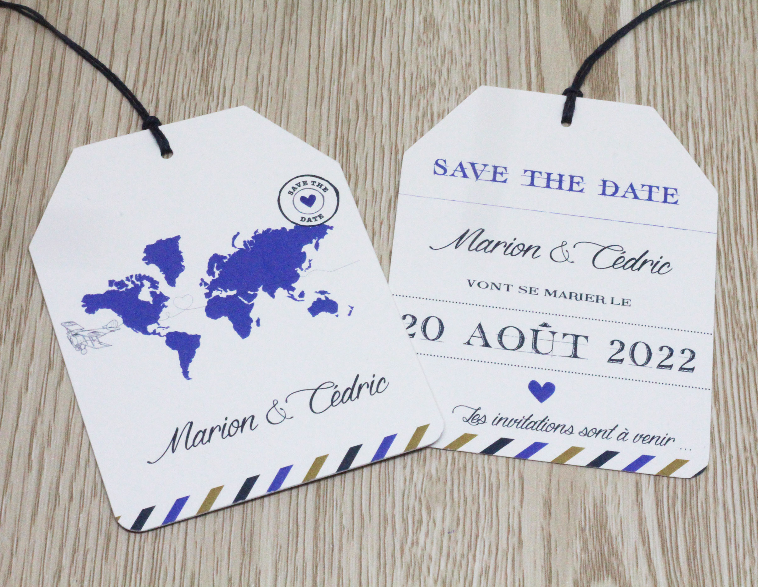 Save the date étiquette voyage