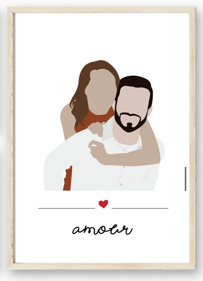 Affiche portrait d\'amoureux