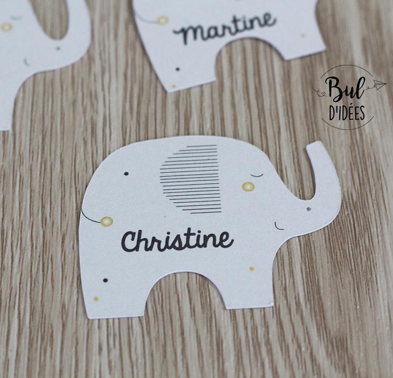 Marque-place éléphant