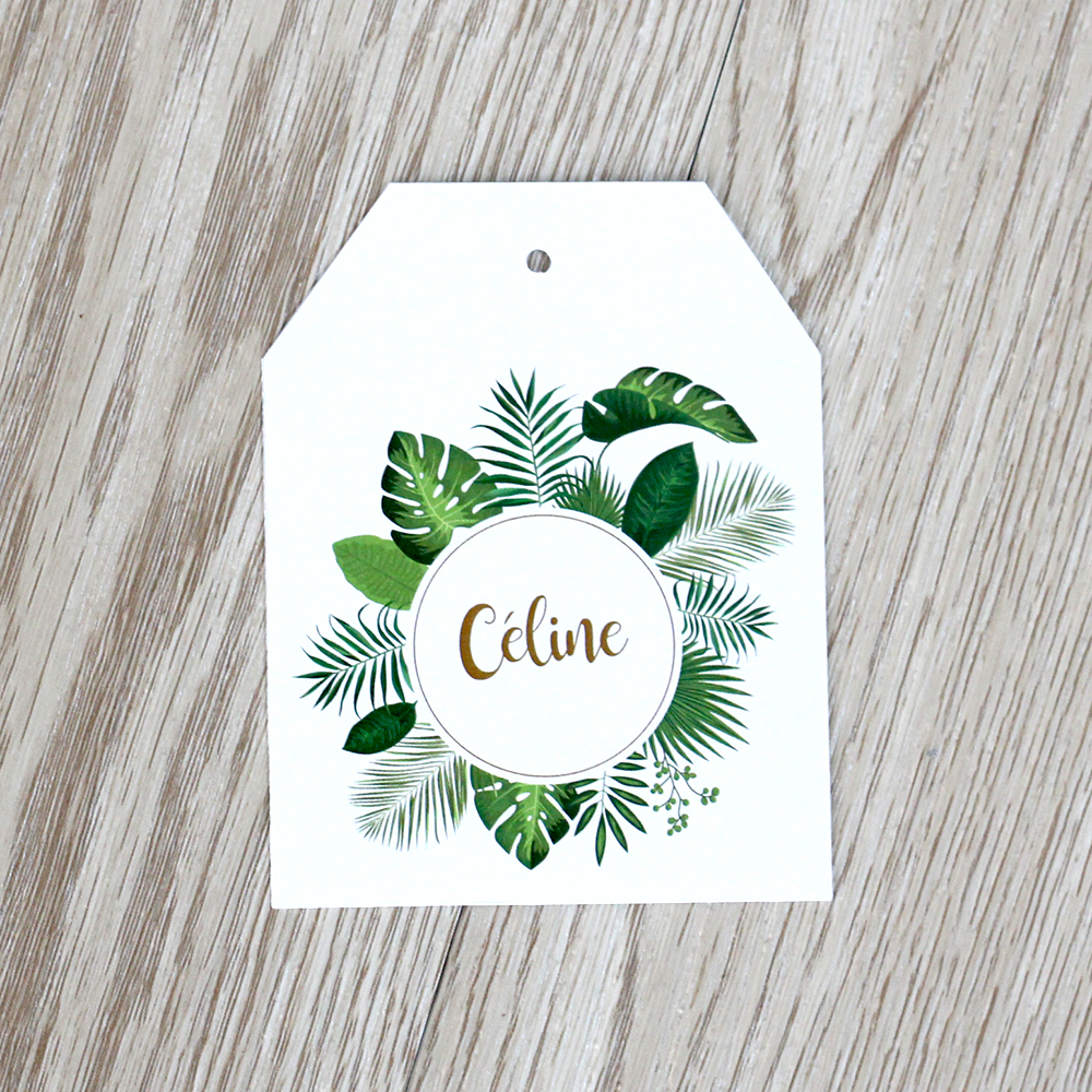 Marque-place tropical étiquette