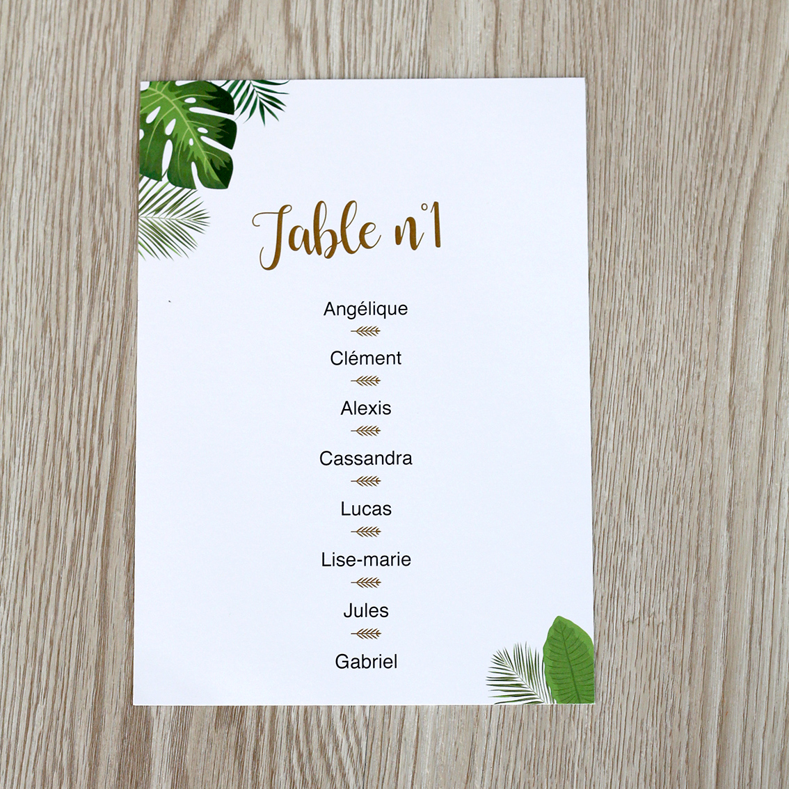 Plan de table tropical