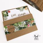 miniature faire-part kraft tropical + fleurs