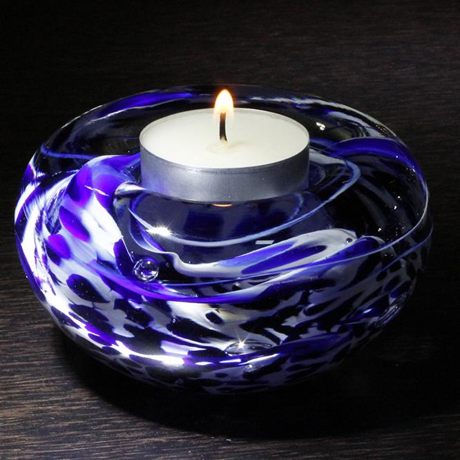 bougeoir cristal bleu blanc art verrier bougeoir cristal lehrer. Black Bedroom Furniture Sets. Home Design Ideas
