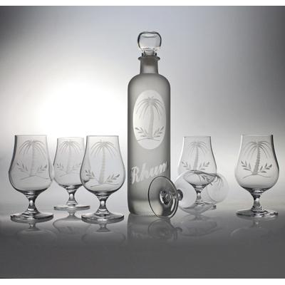 service 7 pièces rhum bar32 + bouteille krug taille palmier