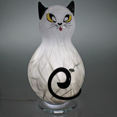Lampe Chat cristal gris