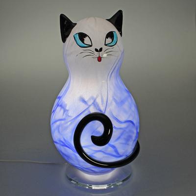 Lampe Chat cristal bleu