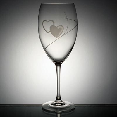 Verre de Mariage Bordeaux taille double-coeur