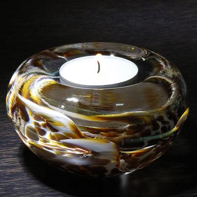 Bougeoir CRISTAL ambre/blanc
