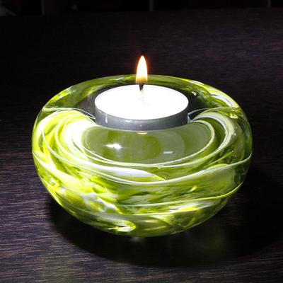 Bougeoir CRISTAL vert pomme/blanc