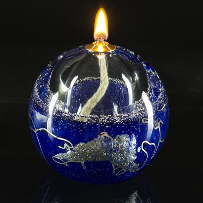 Lampe à huile bleu argent