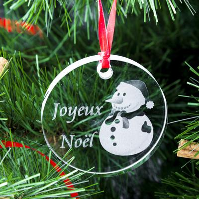 Médaillon de Noël ; Gravure Bonhomme de Neige