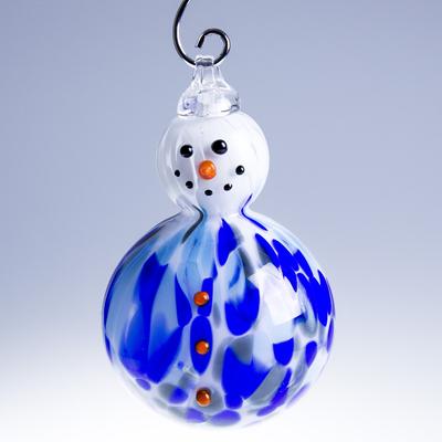 Boule de Noël Bonhomme de Neige Bleu