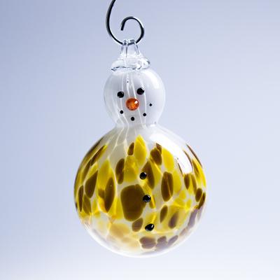Boule de no l bonhomme de neige ambre collection no l cristal lehrer for Boule laser noel