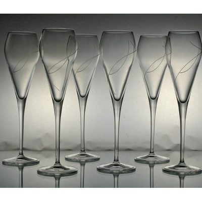 6 verres flûte Prosecco Taille Spirale