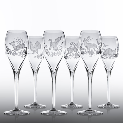 6 Verres Rubis Taille Chasse