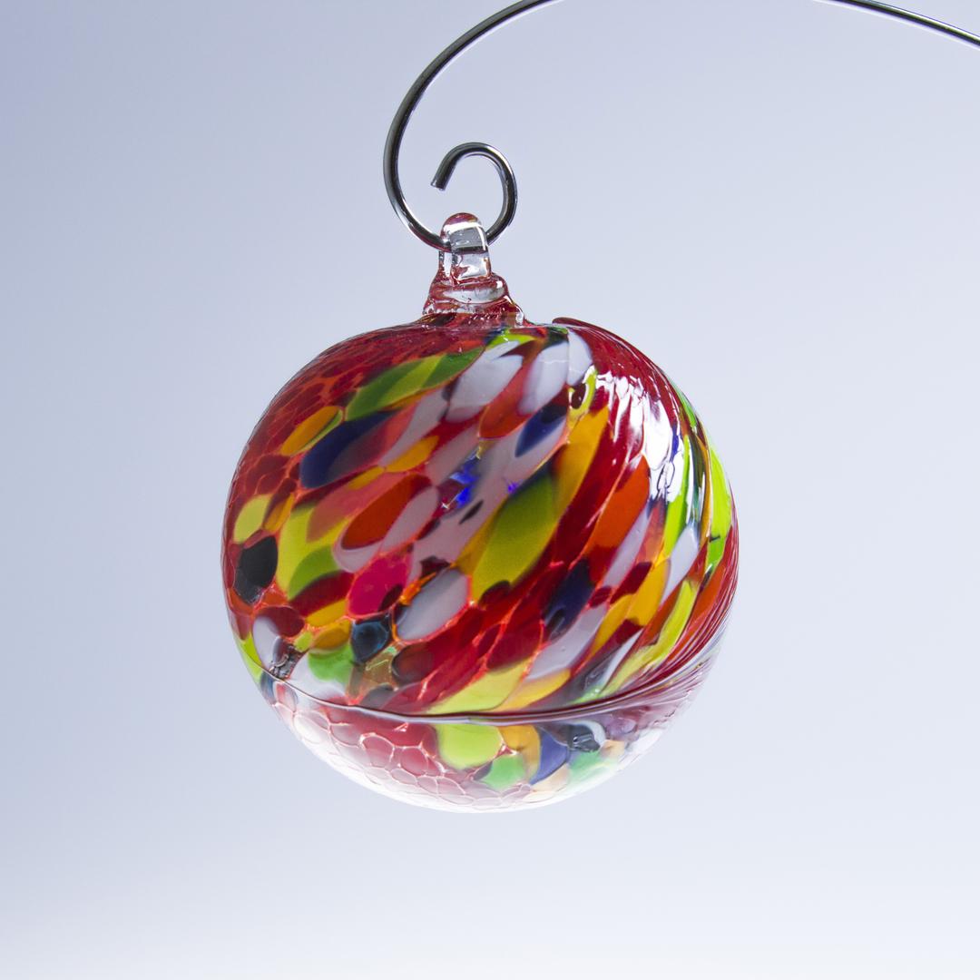 Boule de no l coloris rouge blanc jaune vert d corations boules de no l cristal lehrer for Boule laser noel