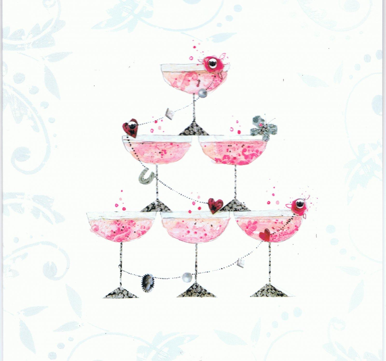 Carte postale double f licitations coupe champagne - Mot de felicitation mariage ...