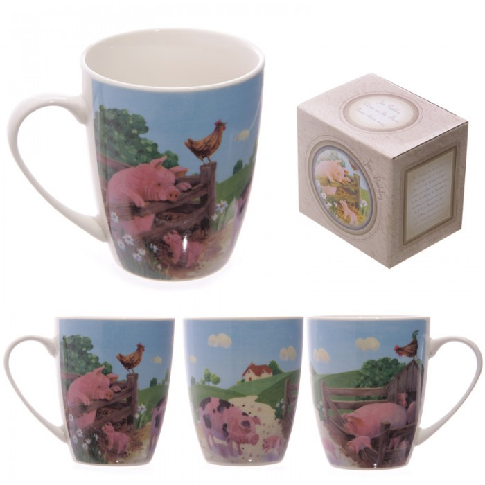 www.lulu-shop.fr Mug En Porcelaine Cochons Dans La ferme Par Jan Pashley - MUG139 - 1