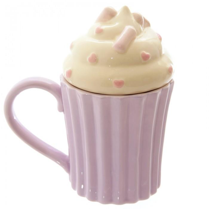tasse cupcake parme avec couvercle chantilly art de la table mug tasse lulu shop. Black Bedroom Furniture Sets. Home Design Ideas