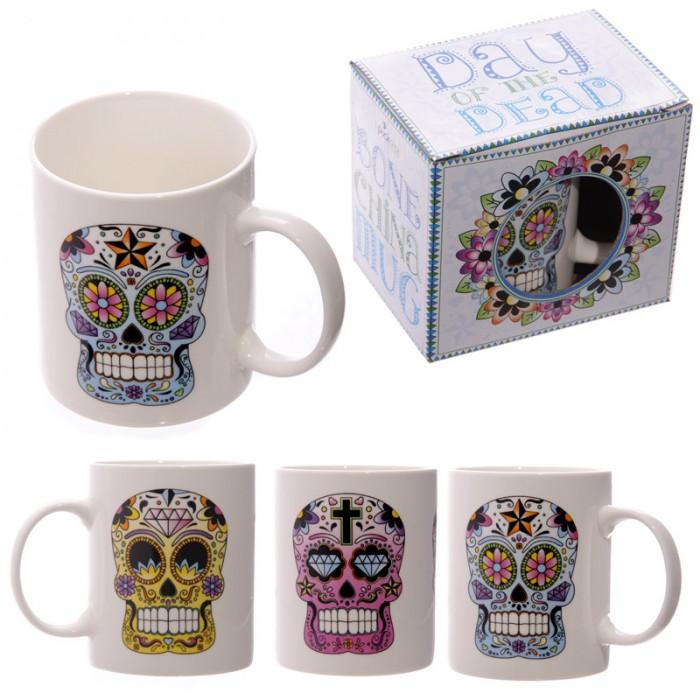 www.lulu-shop.fr Mug En Porcelaine Jour Des Morts Méxicains Par Lauren Billingham MUG126 - 1