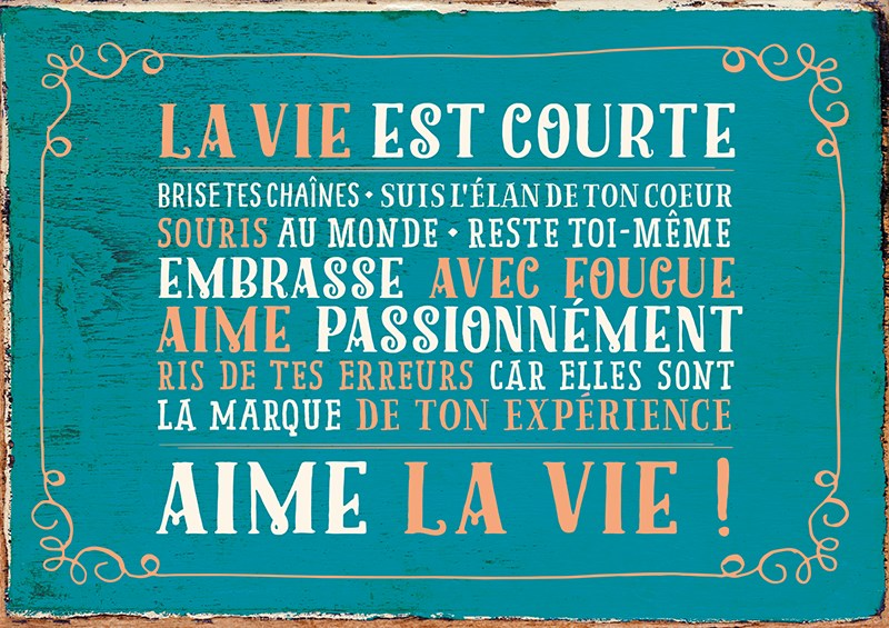 Carte Postale  La vie est courte, Aime la vie! ... Lulu Shop