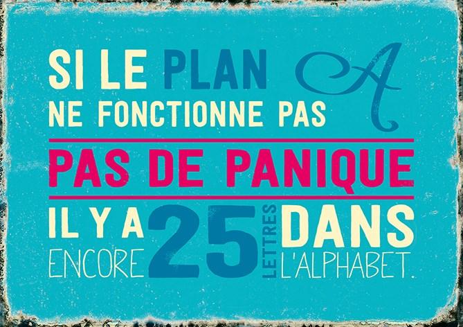 Carte Postale  Si le plan A ne fonctionne pas, Pas de panique... Lulu Shop