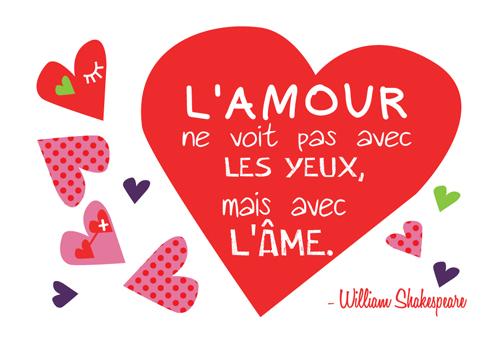 Carte Postale  L'amour ne voit pas avec les yeux, mais avec l'Âme ... lulu shop