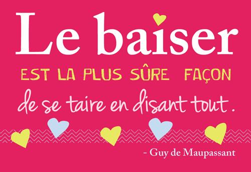 Carte Postale  Le Baiser est la plus sûre façon de se taire en disant tout ... Lulu Shop