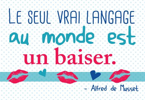 Carte Postale  Le seul vrai langage au monde est un baiser... Lulu Shop