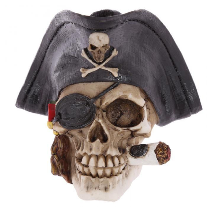 Crâne décoratif pirate avec cigare Lulu Shop