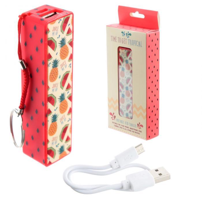 Porte-clé Chargeur USB Portable - Ananas & Pastèque Tropical Lulu Shop 1