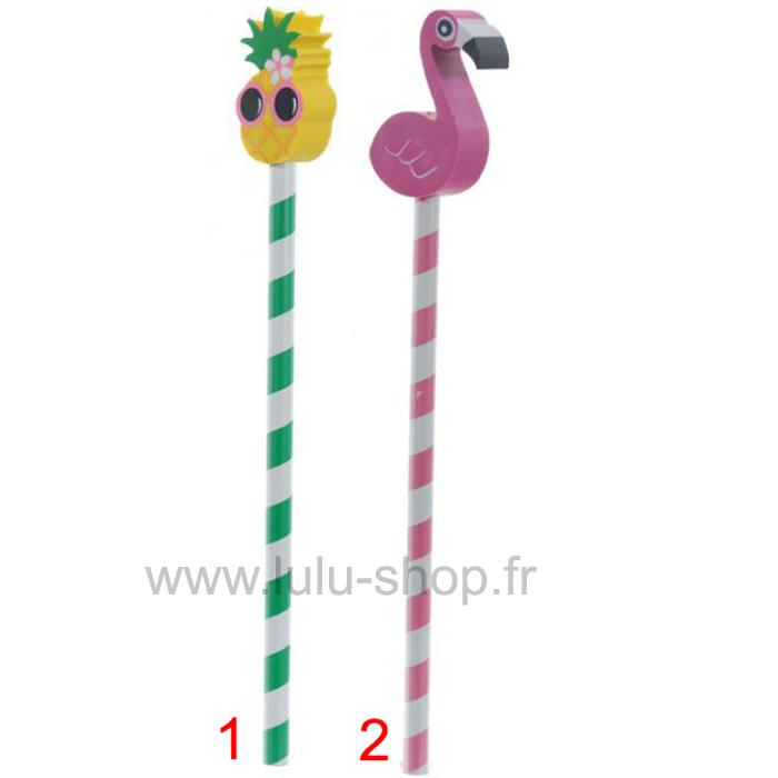 Crayon Tropical avec Bouchon Gomme Flamant Rose & Ananas lulu shop