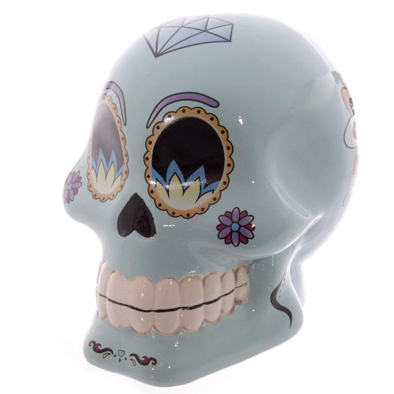 Tirelire crâne jour des morts mexicain bleu lulu shop 1