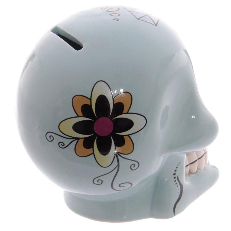 Tirelire crâne jour des morts mexicain bleu lulu shop 2