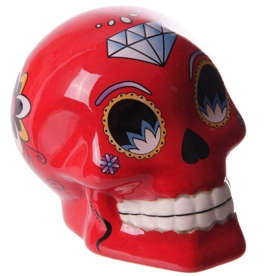 Tirelire crâne jour des morts mexicain petit modèle rouge lulu shop 2