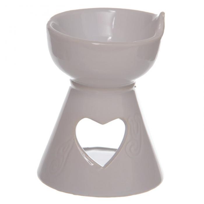 Bruleur à Huile Céramique blanc avec cœur  lulu shop