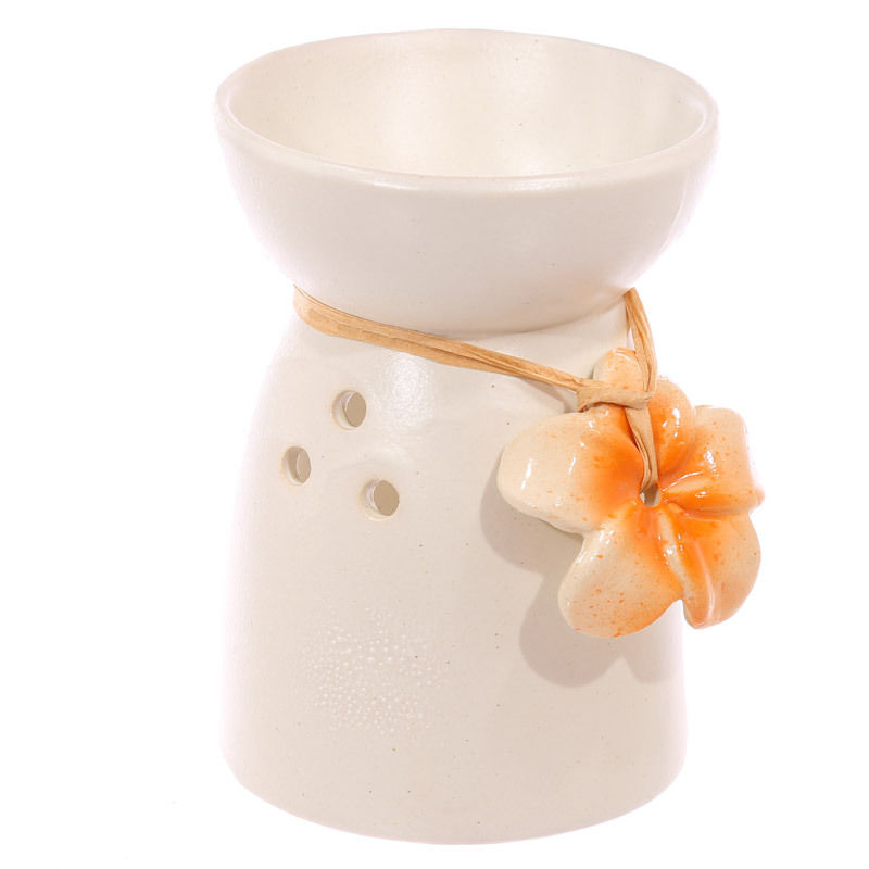 Bruleur à Huile Céramique fleur orange  lulu shop
