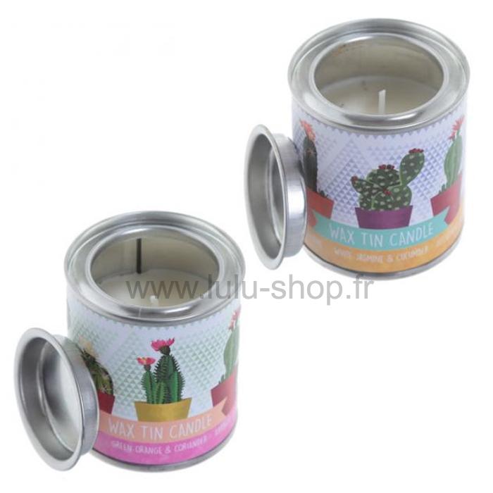 Bougie Eden à la cire de soja dans pot en étain - Motif Cactus lulu shop