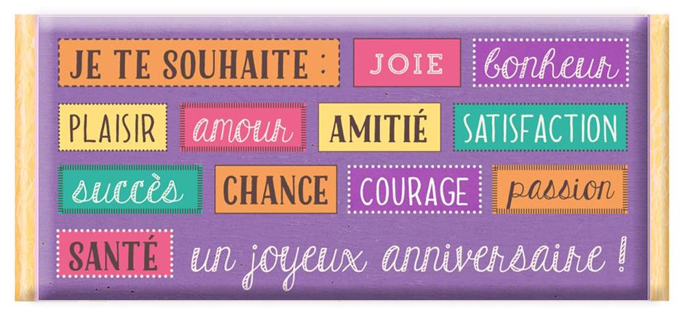 Tablette De Chocolat Message Je Te Souhaite Joie Bonheur Plaisir Amourun Joyeux Anniversaire