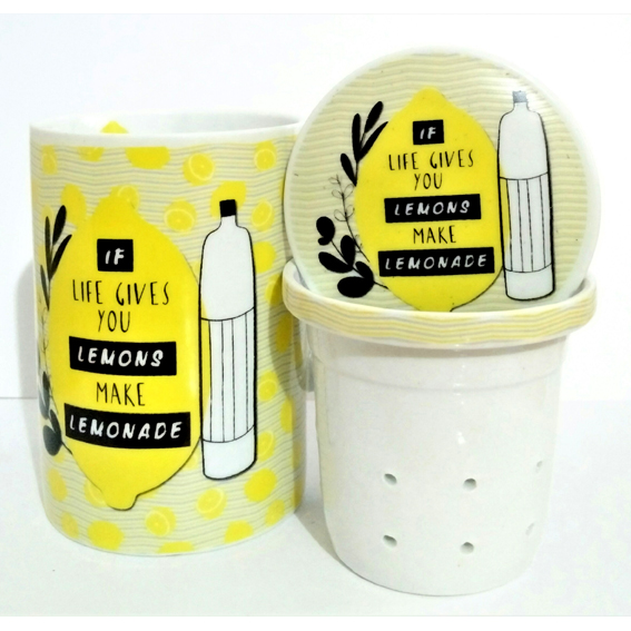 mug avec filtre et couvercle jaune si la vie vous donne des citrons faites de la limonade. Black Bedroom Furniture Sets. Home Design Ideas