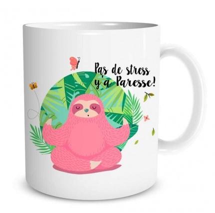 Mug Paresseux Pas de stress y'a paresse  lulu shop