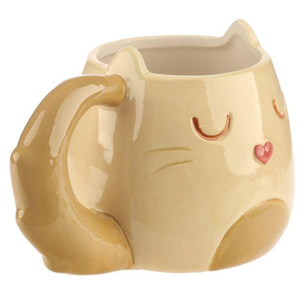 Mug Chat Caramel Beige & Brun 2