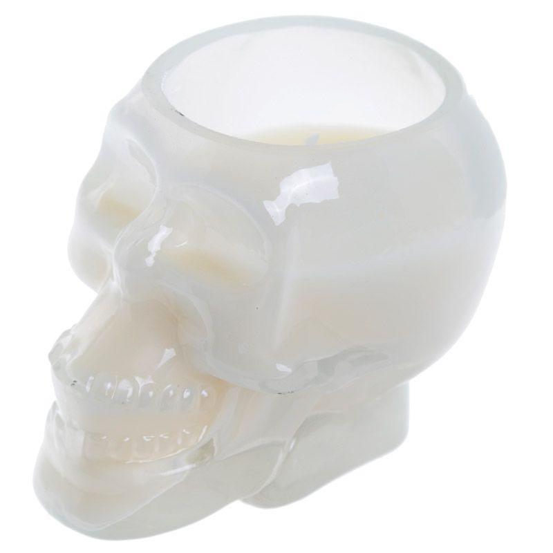 Bougie Cire de Soja - Pot Crâne Blanc Bois de Santal 1