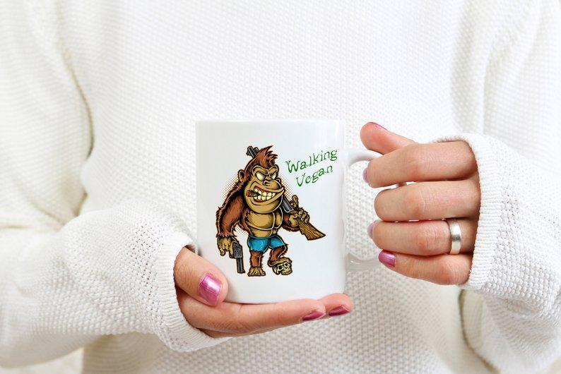 Mug Cadeau pour Végan  Gorille Walking Végan lulu shop (2)