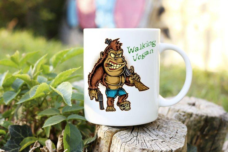 Mug Cadeau pour Végan  Gorille Walking Végan lulu shop (4)