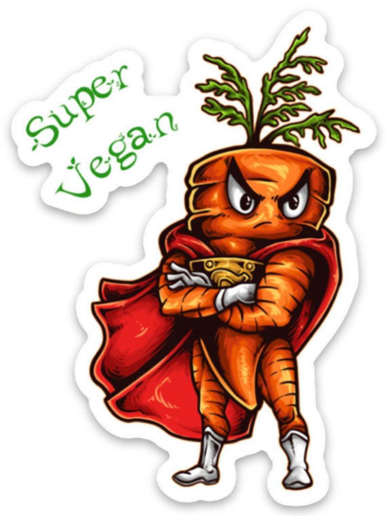 Autocollant Super Végan Carotte - Sticker pour personaliser lulu shop